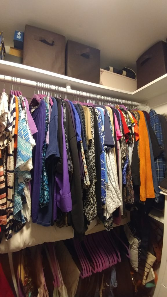 Upper section of closet, closet makeover
