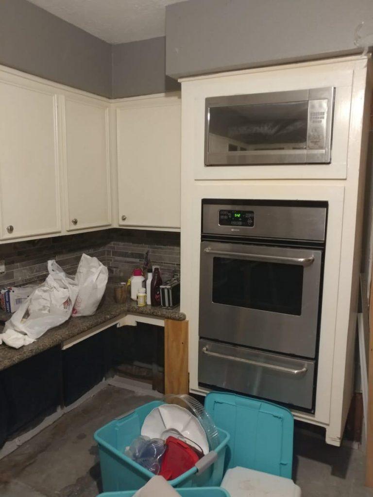 New kitchen, remodeled kitchen, flooded kitchen