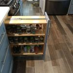 new kitchen, remodeled kitchen, flooded kitchen, spice rack