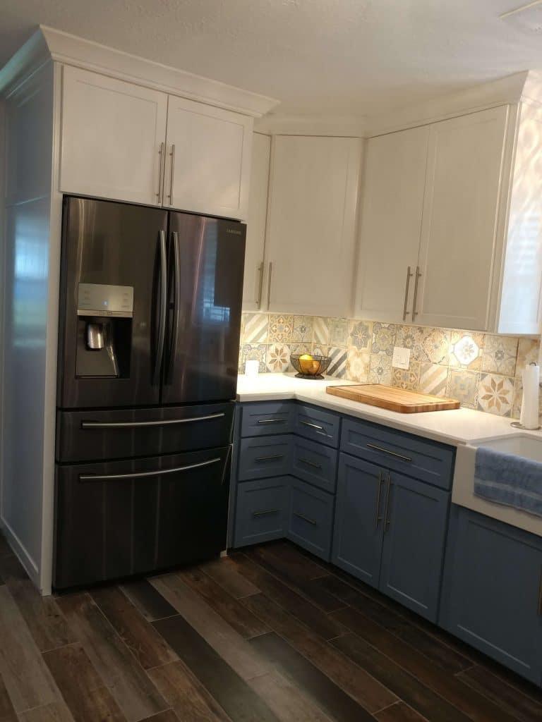 new kitchen, remodeled kitchen, flooded kitchen, new kitchen refrigerator