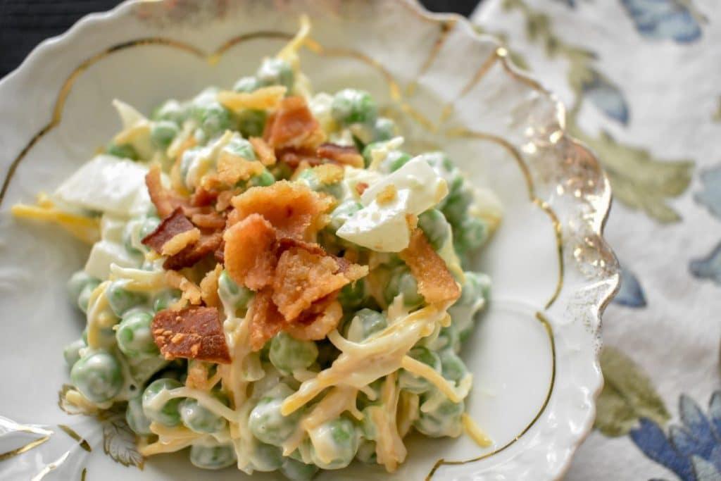 Pea salad, bacon, cool summer food