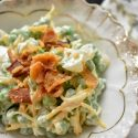 Pea salad, bacon, cool summer food
