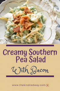 Creamy, Southern Pea Salad with Bacon is light and cool and is awesome on a hot day when you don't want to eat anything heavy.